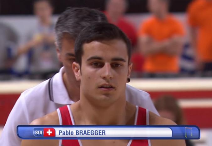 Pablo Brägger während des Reckfinals an den Europameisterschaften