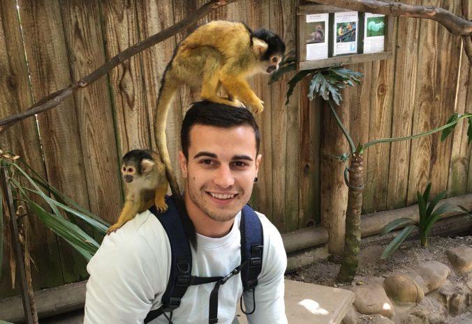 Pablo in den Ferien mit Affen